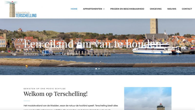 website Vakantiehuis Terschelling